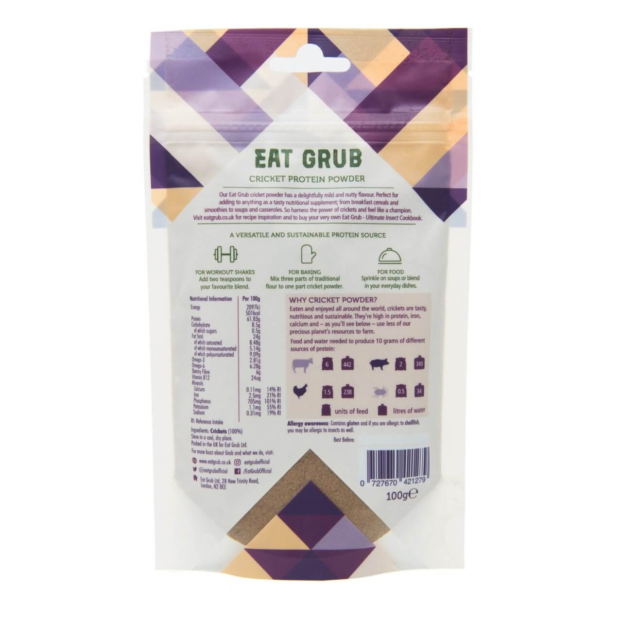 Eat Grub 100%ナチュラル クリケットプロテインパウダー(食用コオロギパウダー) 100g