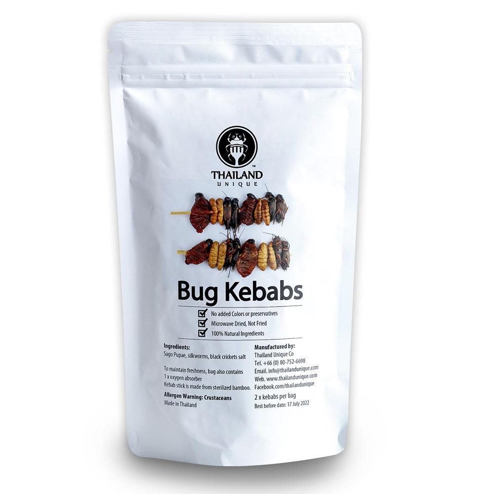 Bug Kebab3種2本入(サゴワーム、シルクワームサナギ、フタホシコオロギ)
