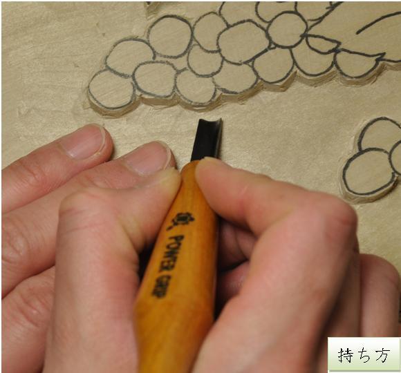 パワーグリップ彫刻刀 キワ型  4.5mm