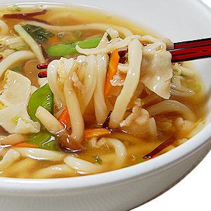 野菜たっぷり熱々を!とろ〜りトロミが身体を芯から温めるあんかけうどん!!(冷凍うどん、白菜、しめじ、たけのこ、人参、もやし、きくらげ、きぬさや、ねぎ、あげ、豚肉、スープもセットの冷凍調理麺)<BR>冷凍麺!