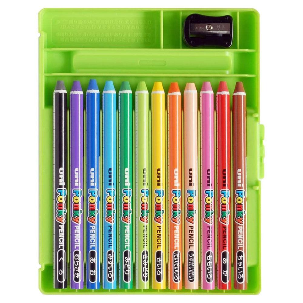 三菱鉛筆 色鉛筆 ポンキーペンシル 12色 K800PK12CLT 折れにくい 発色 混色 図工 工作 お絵かき 手が汚れない プレゼント キッズ