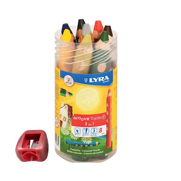 【名入れ無料】超オススメ! 極太軸のまんまるくぼみが指にピッタリフィット! LYRA グルーヴトリプルワン三角軸色鉛筆8色セット