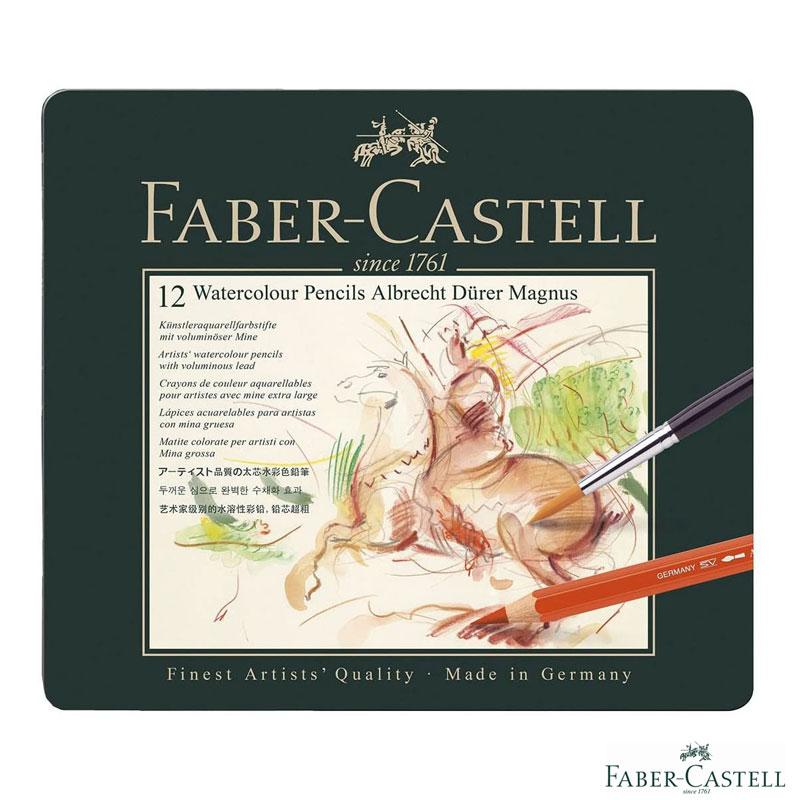 ファーバーカステル アルブレヒト・デューラー マグナス 水彩色鉛筆 12色 缶入り 筆つき 六角 5.3mm径芯 ジャンボサイズ 名入れ グラフィックアート プロ 高品質 プレゼント 大人のぬりえ 色鉛筆画