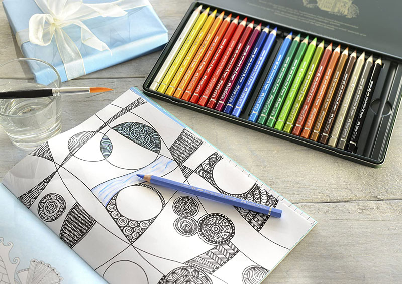 ファーバーカステル アルブレヒト・デューラー マグナス 水彩色鉛筆 24色 缶入り 筆つき 六角 5.3mm径芯 ジャンボサイズ 名入れ グラフィックアート プロ 高品質 プレゼント 大人のぬりえ 色鉛筆画