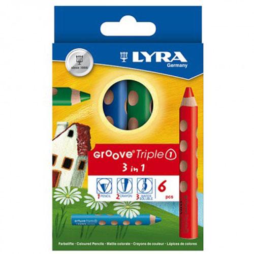 LYRA グルーヴトリプルワン 色鉛筆 6色 三角軸 名入れ無料 極太軸 まんまるくぼみ 持ちやすい ギフト 記念品 プレゼント 祝い