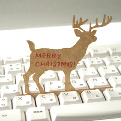 """パソコンのキーボードのキーのすき間に挟んで立てかけられるかわいい伝言メモ ハイモジモジ Deng On""""Deer"""""""