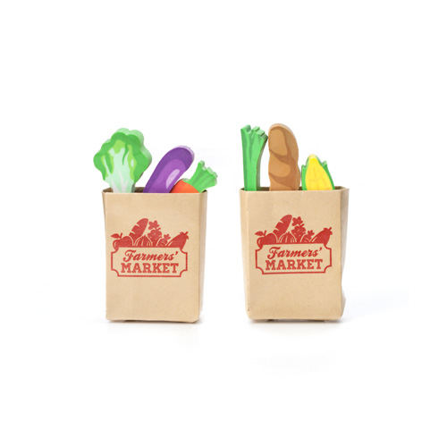 間違えて食べちゃいそう? 本物そっくりの紙袋に入った食材消しゴム★ キッカーランド ファーマーズマーケットイレイサー