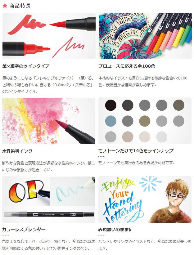 アートを彩る、本格グラフィックマーカー トンボ鉛筆 水性マーキングペン ABT36色セット ベーシック