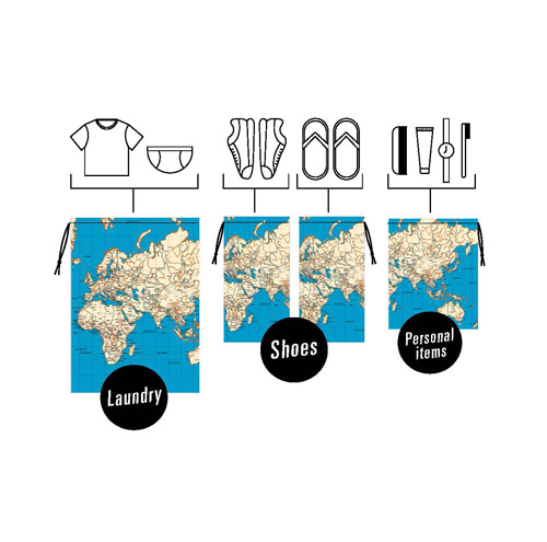 持ってるだけでグローバルな気分に★ 世界地図がプリントされたトラベルバッグセット キッカーランド アラウンド ザ ワールドトラベルバッグセット