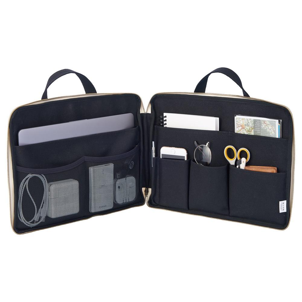 LIHIT LAB HINEMO スタンドポーチ Lサイズ 簡易パーテーション 整理整頓 バッグインバッグ テレワーク応援