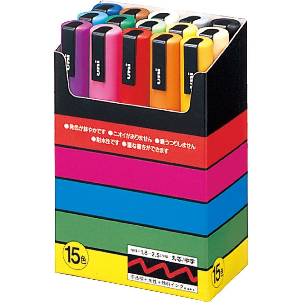 鮮やかで美しい発色の水性ペン 三菱鉛筆 ポスカ【POSCA】1.8-2.5mm 15色セット