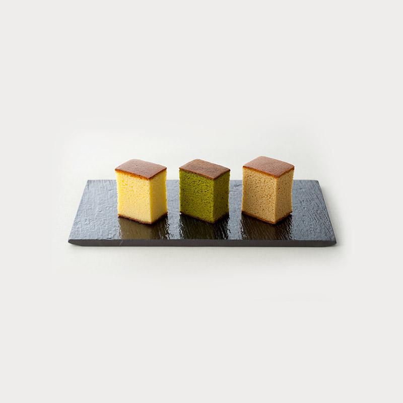 三種類の特撰カステラ 3本入 和三盆とお濃茶と黒糖