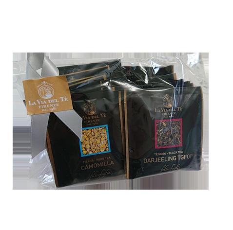 ≪LA VIA DEL TE≫ シルク ティーバッグ。15個入り。(シルク全種類入り)<br>★お試しやプレゼントに!<br>★イギリスのハロッズでも販売、雑味の無い最高品質のお茶