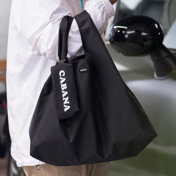 CABANA キーリングポーチ入りエコバッグ ≪選べる2サイズ-大・小-≫CABANAロゴ/ユニオンジャック