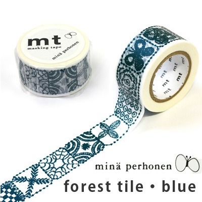 マスキングテープ 『mt×mina perhonen forest tile・blue』【マステ】