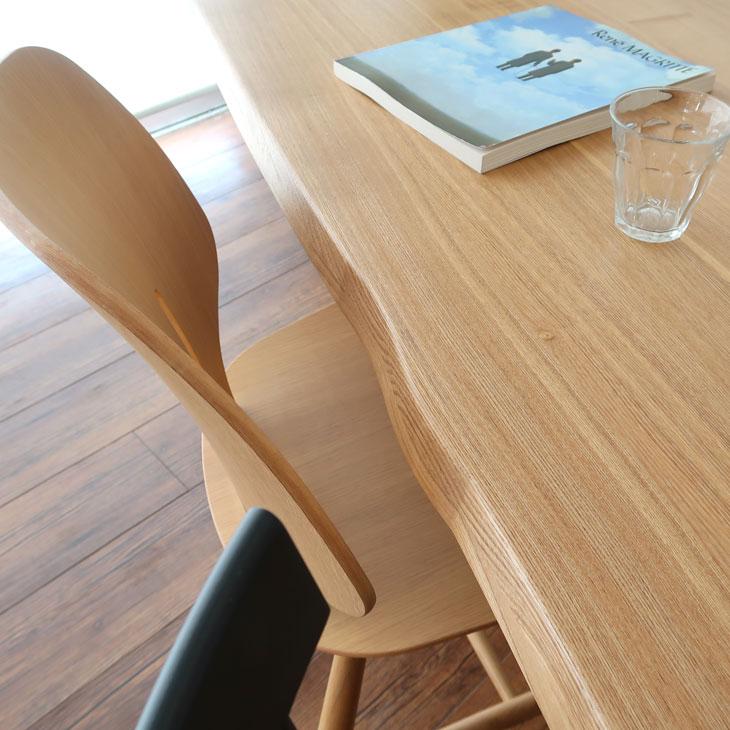 ダイニングテーブル 幅165cm タモ材 タモ 耳加工 T字 2本足 和風 ウレタン T字型