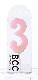 ナンバーキャンドル 3 (パステル) 1本入 KM03-1