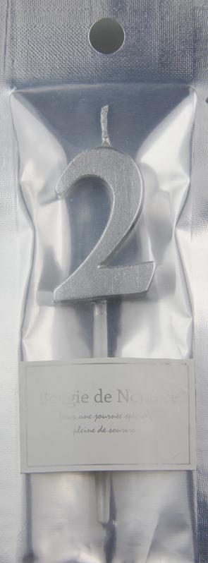 ナンバーキャンドル 2 (シルバー) 1本入 MTSL02-1