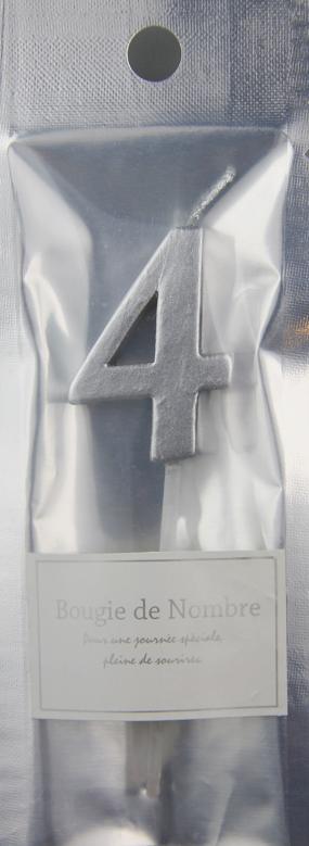 ナンバーキャンドル 4 (シルバー) 1本入 MTSL04-1