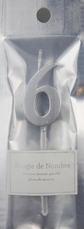 ナンバーキャンドル 6 (シルバー) 1本入 MTSL06-1