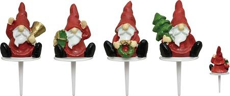 【クリスマス】 ケーキピック (木こりカルテット) 4個入 アソート プラスチック YK45AS-4