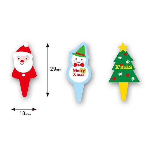 ケーキピック (クリスマス3種) 各10枚入 アソート XG253255AS-30