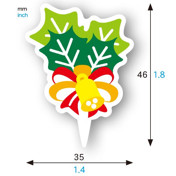 ケーキピック (ヒイラギベル) 100枚入 XG347-100