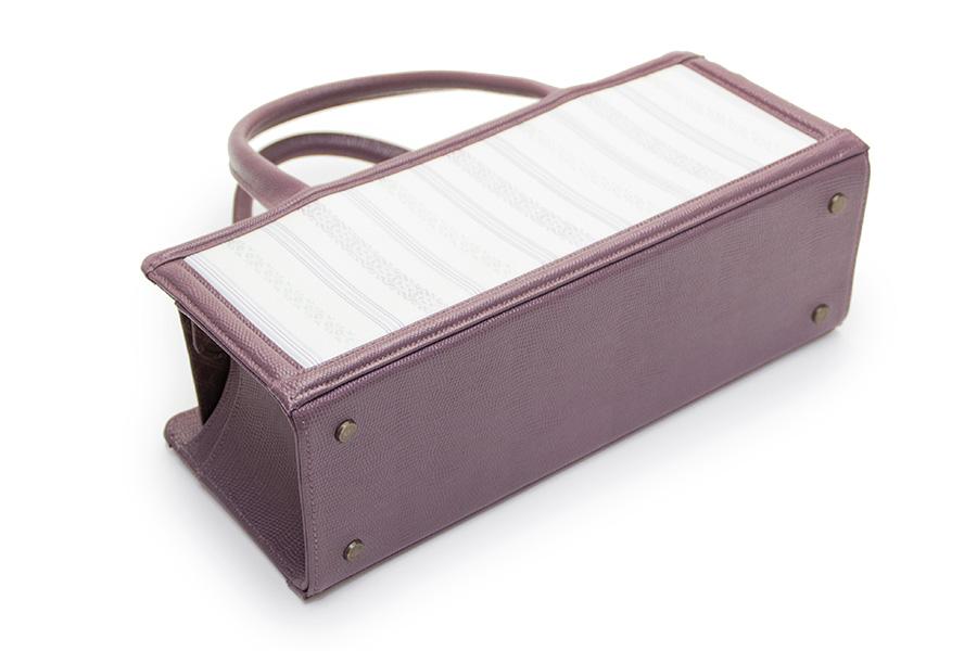 箱バッグ 博多織<オフホワイト×No.939(紫)> No.208