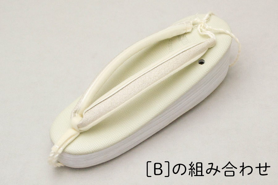 鼻緒単品 「菱屋製・帯地<銀地に中レール>」 レディース No.016