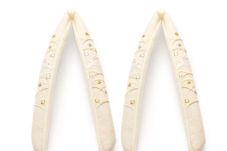 鼻緒単品 「菱屋製・刺繍<兎と露草>」 レディース No.121010
