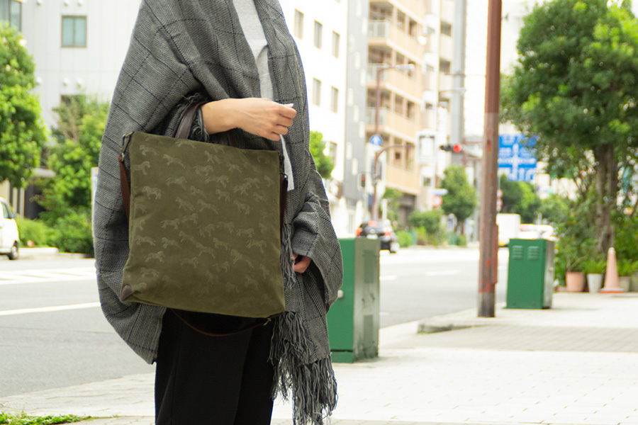長堀 イタリアフェルト<ピンク> 革:エンジ