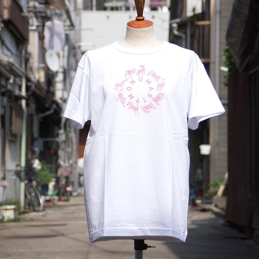 Tシャツ ユニセックス<うまくいく紋・MONUMA・白地ピンクプリント> 【クリックポスト:容量80】