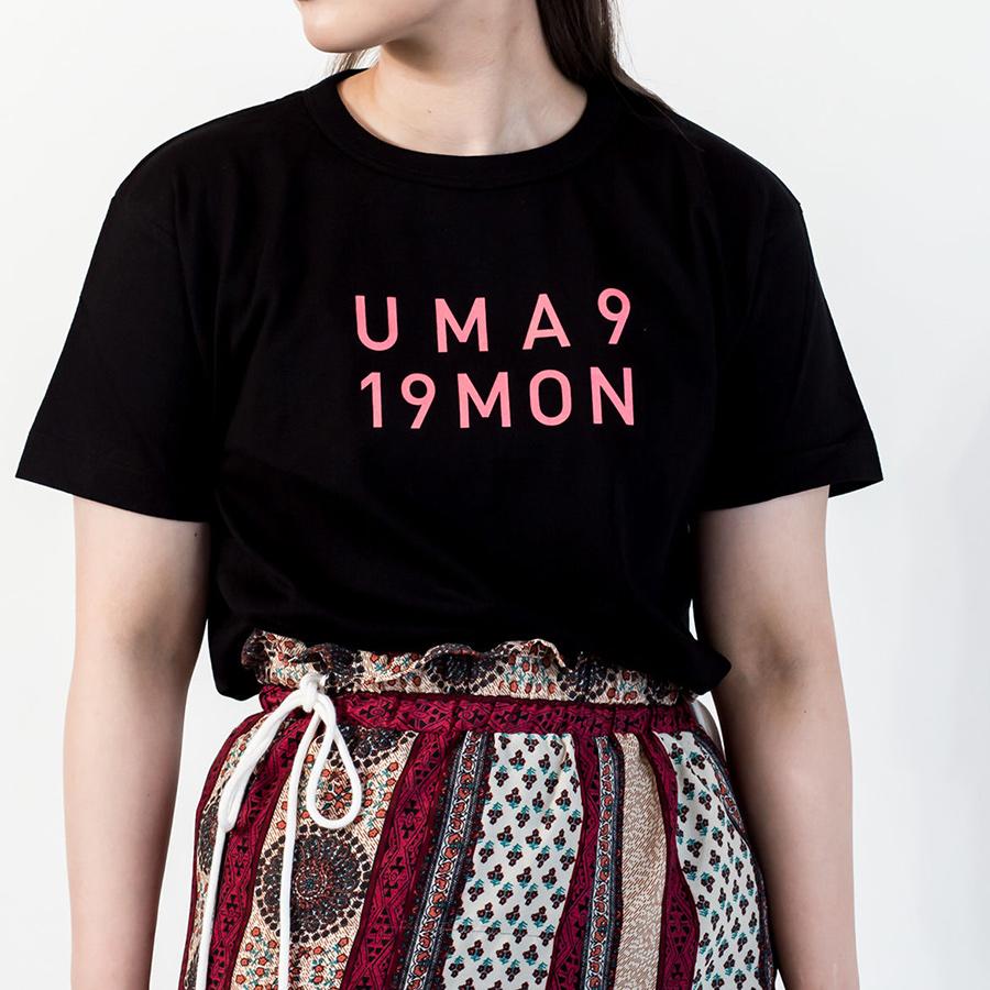 Tシャツ ユニセックス<うまくいく紋・LOGO・黒地ピンクプリント> 【クリックポスト:容量80】