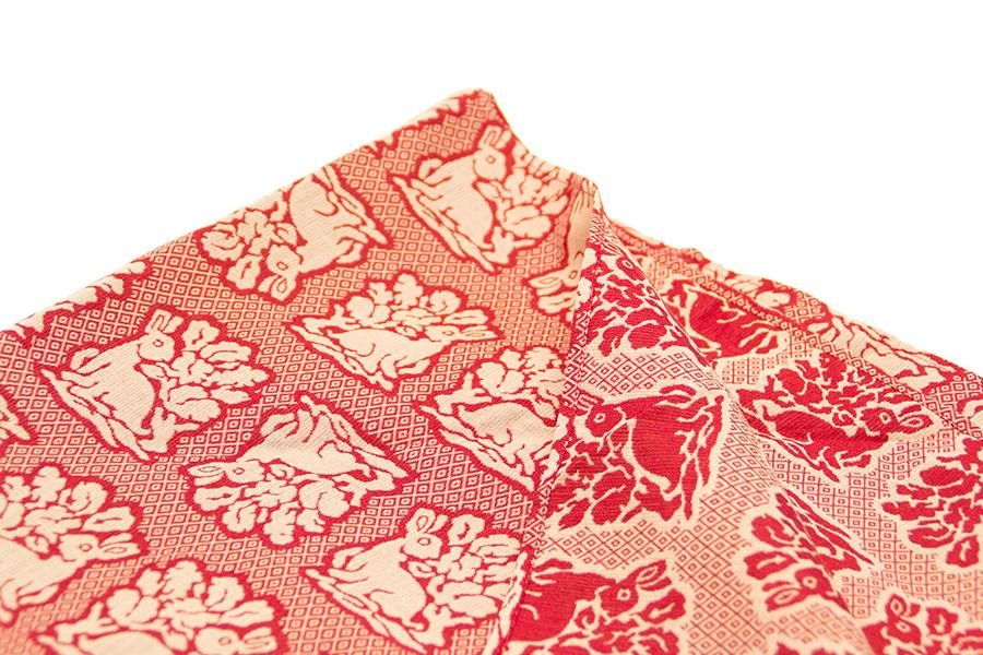 風呂敷 西陣織<花兎・赤> 90×90cm