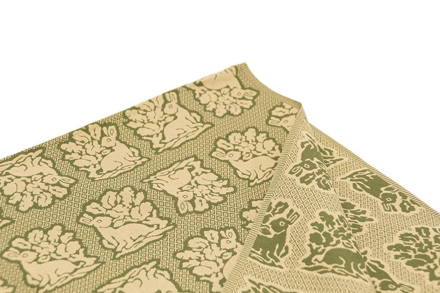 風呂敷 西陣織<花兎・緑> 90×90cm