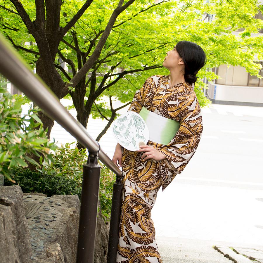 夏きもの・ゆかた <芭蕉葉・イエロー>