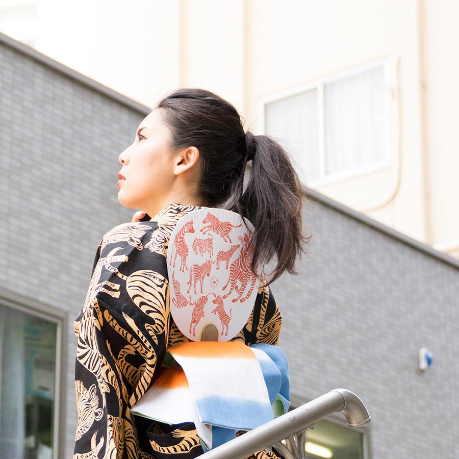 夏きもの・ゆかた <うまくいく紋・黒黄>