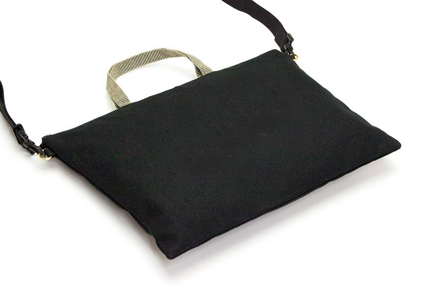 松屋町 帆布<うまくいく紋・MONUMA・黒>(ショルダーストラップ付き/プラスチック素材)