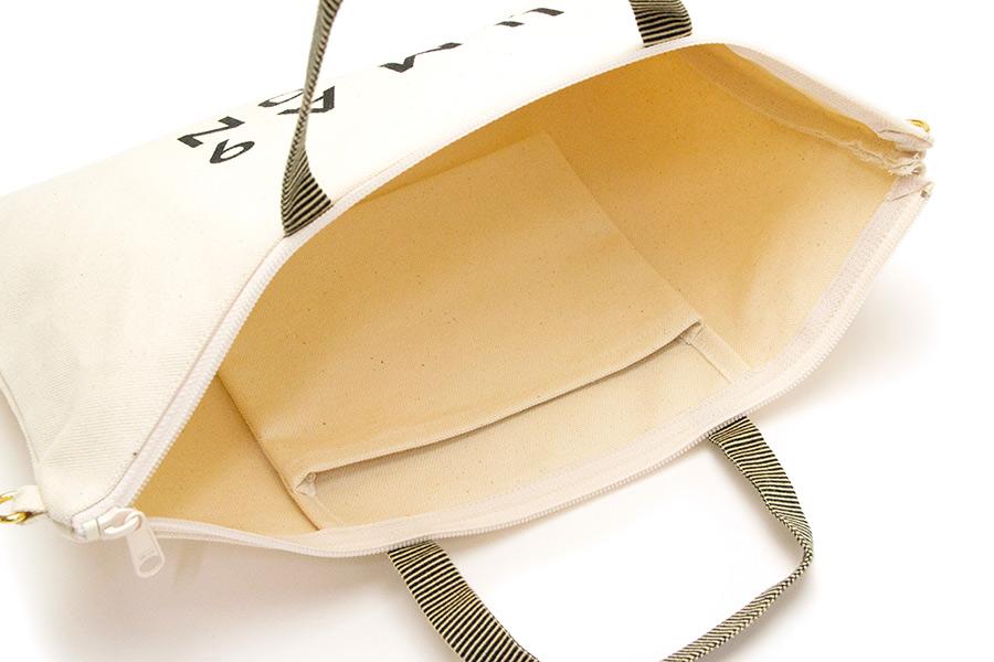 松屋町 帆布<うまくいく紋・LOGO・白>(ショルダーストラップ付き/プラスチック素材)