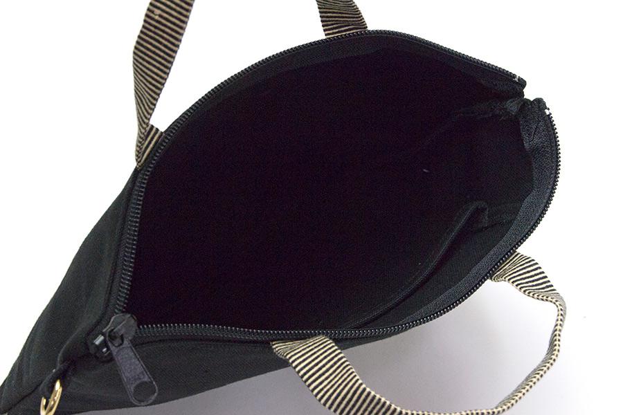 上町 帆布<うまくいく紋・LOGO・黒>(ショルダーストラップ付き/プラスチック素材)【クリックポスト:容量100】