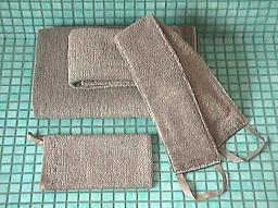 キュア 北欧 リネン パイル織 タオル35x35 ショコラ