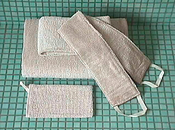 キュア 北欧 リネン パイル織 背中洗い用タオル /リッチバニラ