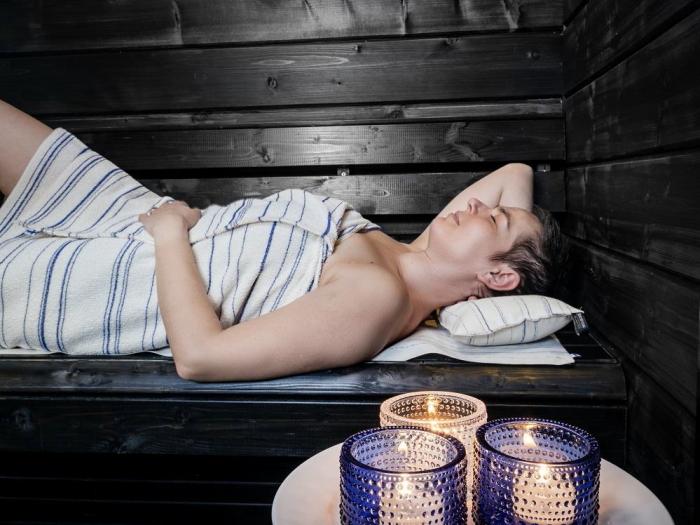 キュア 北欧 リネン パイル織 背中洗い用タオル /スオミ ブルー