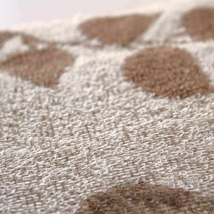 キュア 北欧 リネン パイル織 リーフ タオル 50x75