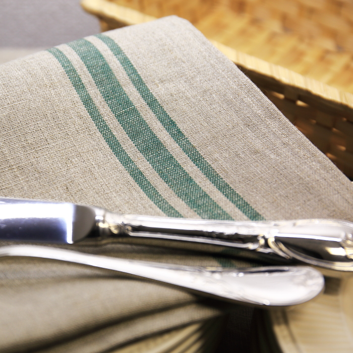 CALIENTE リトアニア リネン 麻 100% カンパーニュ M クロス キッチン タオル プレースマット グリーン 緑