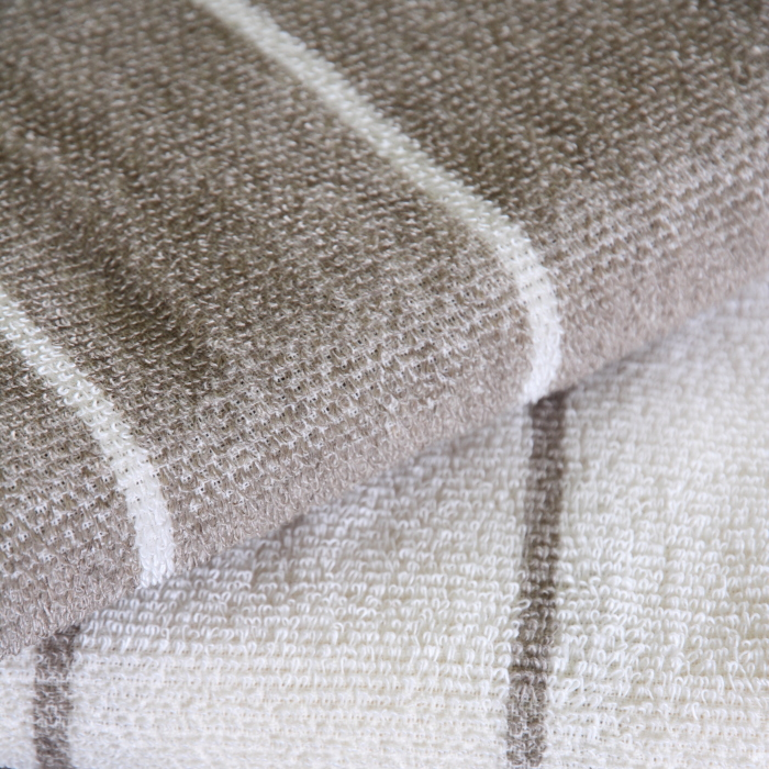 キュア 北欧 リネン パイル織 ストライプ タオル50x75 オフホワイト