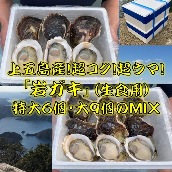 今が旬!上五島の岩ガキ・超特大6個・大9個MIXセット(送料込)