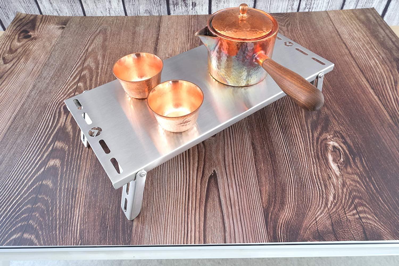 キャンピングムーン(CAMPING MOON) ソロテーブル オールステンレス製 収納バック付き SK-8S