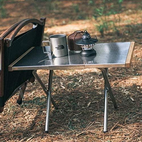 焚き火テーブル  ステンレス エンボス加工 収納バッグ付きT-370-2T