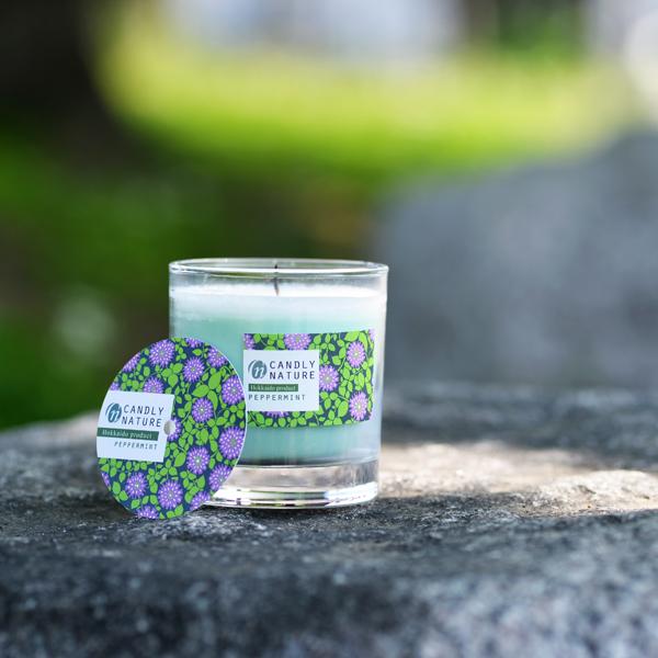 北海道天然アロマキャンドル(瓶)/ペパーミント